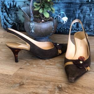 Auth Louis Vuitton pointy Sling back heels 37.5🌺